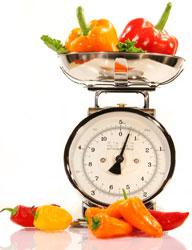 pesée de légumes
